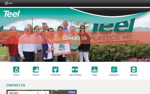 Screenshot of Contact Page teel.com - Contact Us   Teel Plastics - captured Nov. 19, 2018