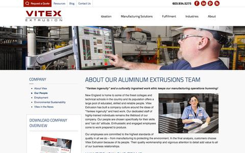 Screenshot of Team Page vitexextrusions.com - About Our Aluminum Extrusion Team | Vitex Extrusion - captured Sept. 20, 2018
