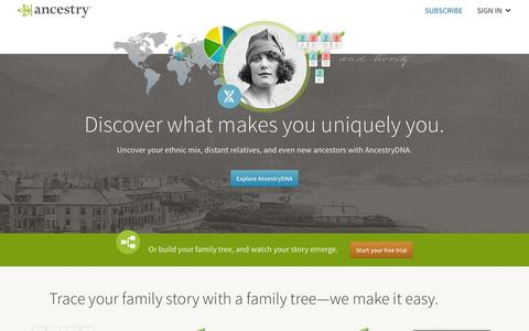 Screenshot of Home Page ancestry.com - Ancestry® | Genealogy, Family Trees & Family History Records - captured July 8, 2016