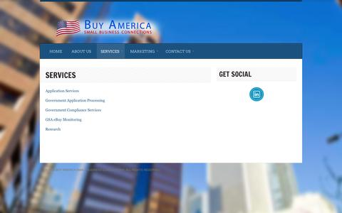 Screenshot of Services Page buyamericasmallbusinessconnections.com - Services | Buy America Small Business ConnectionsBuy America Small Business Connections - captured Sept. 30, 2014
