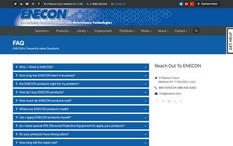 Screenshot of FAQ Page enecon.com - ENECON Frequently Asked Questions - captured July 10, 2017