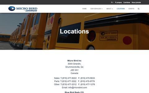 Screenshot of Locations Page microbird.com - Locations – Micro Bird - captured Oct. 18, 2018