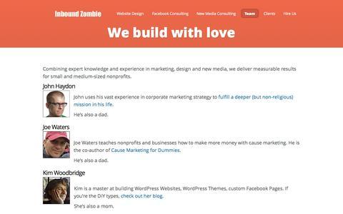 Screenshot of Team Page inboundzombie.com - We build with love - captured Oct. 6, 2014