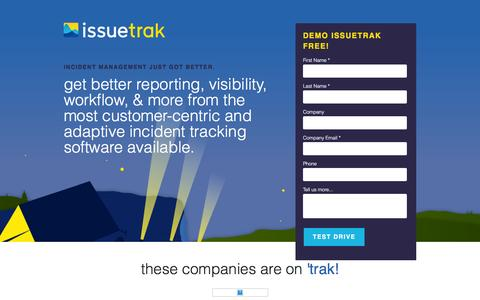Screenshot of Landing Page issuetrak.com - The only Incident Management software you'll ever need. - captured Feb. 13, 2016