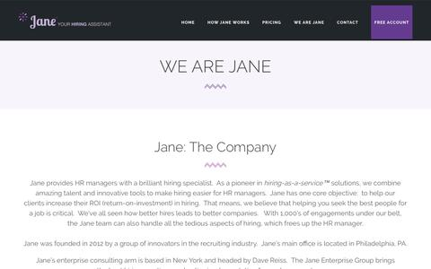 Screenshot of About Page janehires.com - We Are Jane | JaneHires - Hiring Assistant for Human Resource Managers - HR Managers - captured May 21, 2016