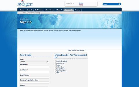 Screenshot of Signup Page aviagen.com - Aviagen » Sign Up - captured Oct. 5, 2014