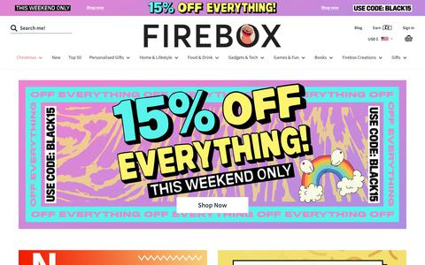 Screenshot of Home Page firebox.com - Unusual Gifts for People with Imagination | FIREBOX® - captured Nov. 30, 2019