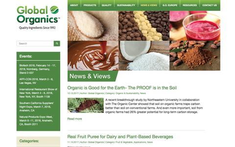 Screenshot of Press Page global-organics.com - News - Global Organics - captured Jan. 27, 2018