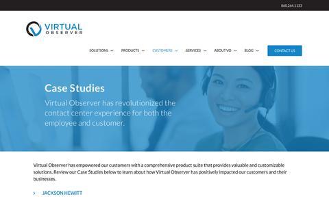 Screenshot of Case Studies Page virtualobserver.com - Case Studeis | Virtual Observer - captured Sept. 13, 2019