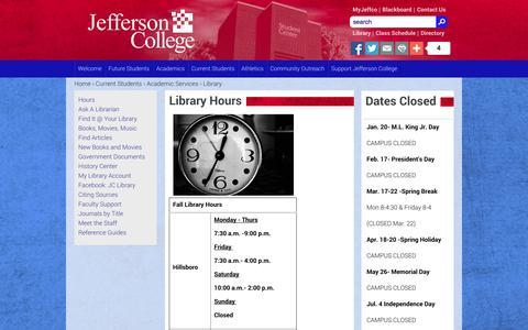 Screenshot of Hours Page jeffco.edu - Library Hours | jeffco.edu - captured Oct. 27, 2014