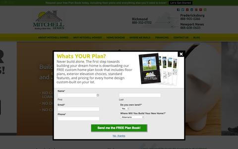 Screenshot of Home Page mitchellhomesinc.com - Custom Home Builders Virginia | Build On Your Lot | Mitchell Homes - captured Aug. 14, 2015