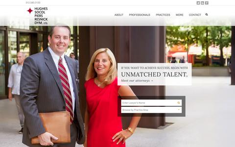 Screenshot of Home Page hsplegal.com - Hughes Socol Piers Resnick & Dym, Ltd.   Chicago's Leading Litigation Firm - captured Oct. 3, 2014