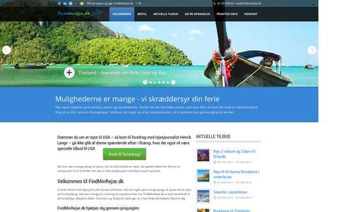 Screenshot of Home Page findminrejse.dk - FindMinRejse.dk  Velkommen til FindMinRejse.dk - captured Oct. 6, 2014