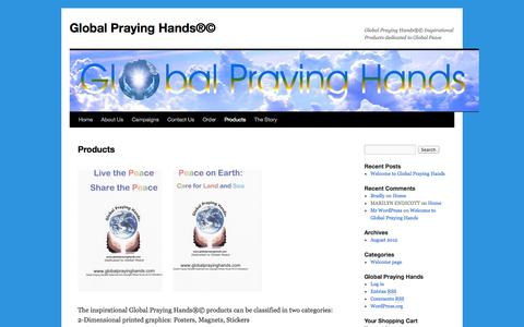 Screenshot of Products Page globalprayinghands.com - Global Praying Hands Products - captured Oct. 5, 2014