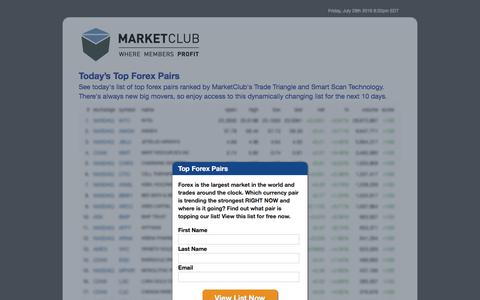 Screenshot of Landing Page ino.com - Today's Top Trending Forex Pairs - MarketClub - captured July 30, 2016