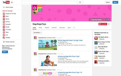 Screenshot of YouTube Page youtube.com - SagoSagoToys  - YouTube - captured Dec. 17, 2014