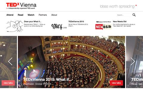 Screenshot of Home Page tedxvienna.at - TEDxVienna: Independently organized TED Event - Official |TEDxVienna - captured Jan. 13, 2016