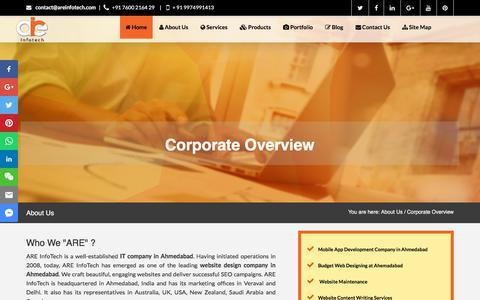 Screenshot of About Page areinfotech.com - IT Company in Ahmedabad, software company in ahmedabad - ARE InfoTech - captured July 28, 2018