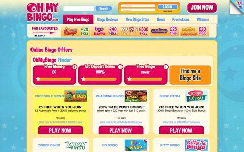 Screenshot of ohmybingo.com - Online Bingo Offers | Free Bingo Offers | Dove Bingo | Elf Bingo - captured March 19, 2016