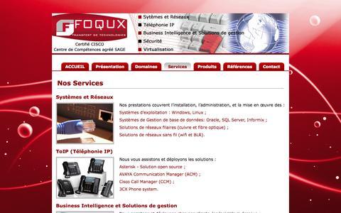 """Screenshot of Services Page foqux.com - Bienvenue chez Foqux """"Transfert de Technologies"""" - SERVICES - captured Oct. 6, 2014"""