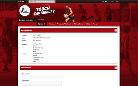 Screenshot of About Page Contact Page touchcanterbury.co.nz - Contact Us - captured April 10, 2016