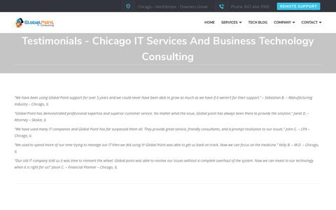 Screenshot of Testimonials Page globalpointllc.com - testimonials - Chicago IT Services and Business technology Consulting - captured Nov. 5, 2018