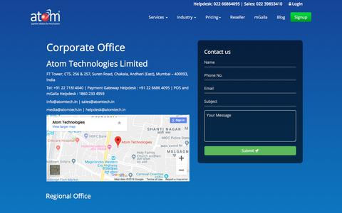 Screenshot of Contact Page atomtech.in - Atomtech: Contact Us for Secure Payment Gateway Services - captured Sept. 23, 2018