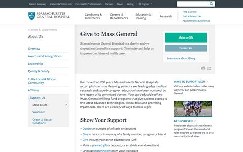 Give to Massachusetts General Hospital - Massachusetts General Hospital, Boston, MA