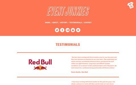 Screenshot of Testimonials Page eventjunkies.ie - Testimonials | Event Junkies - captured Sept. 30, 2014