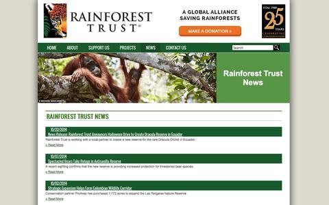 Screenshot of Press Page rainforesttrust.org - Rainforest Trust News - Rainforest Trust - captured Oct. 26, 2014
