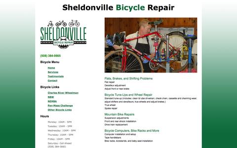 Screenshot of Services Page sheldonvillebicyclerepair.com - Bike Repair and Bike Maintenance | Sheldonville Bicycle Repair - captured Oct. 7, 2014