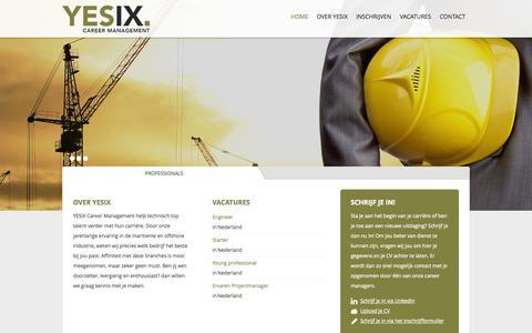 Screenshot of Home Page yesix.nl - Waar kunnen we je mee helpen - YESIX Career Management - captured Oct. 3, 2014