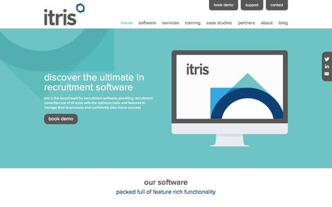 Screenshot of Home Page itris.co.uk - Home | Itris | Itec Systems | Recruitment Software - captured Oct. 6, 2014