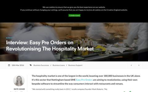 Screenshot of creativeengland.co.uk - Interview: Easy Pre Orders on Revolutionising The Hospitality Market | Creative England - captured March 19, 2016
