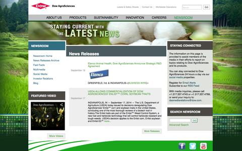 Screenshot of Press Page dowagro.com - Dow AgroSciences Media Relations | - captured Sept. 24, 2014