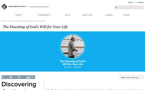 Screenshot of saddleback.com - Saddleback Church: Series: The Dawning of God's Will for Your Life - captured Jan. 6, 2017
