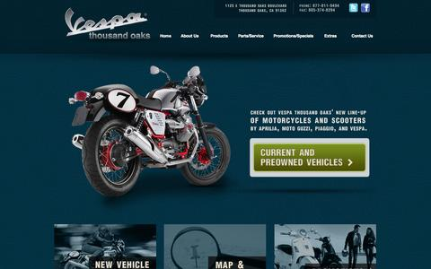 Screenshot of Home Page tovespa.com - Vespa, Piaggio, Aprilia, Moto Guzzi Thousand Oaks - captured Oct. 7, 2014