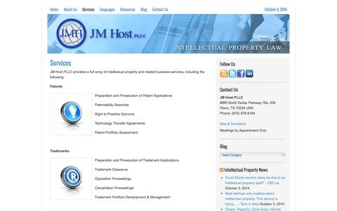Screenshot of Services Page jmhostlaw.com - Services | Host IP Law, PLLC | Patents | Trademarks | Copyrights - captured Oct. 4, 2014