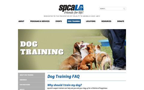 Screenshot of FAQ Page spcala.com - Training FAQ   spcaLA - captured Jan. 11, 2016
