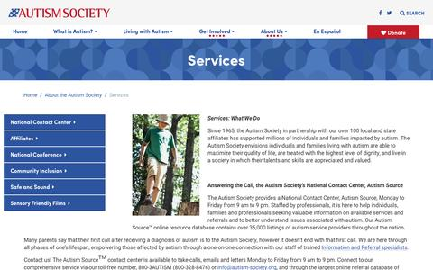 Screenshot of Services Page autism-society.org - Services - Autism Society - captured Oct. 25, 2016