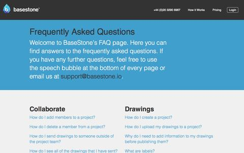 Screenshot of FAQ Page basestone.io - basestone — the construction collaboration tool - captured Nov. 3, 2014