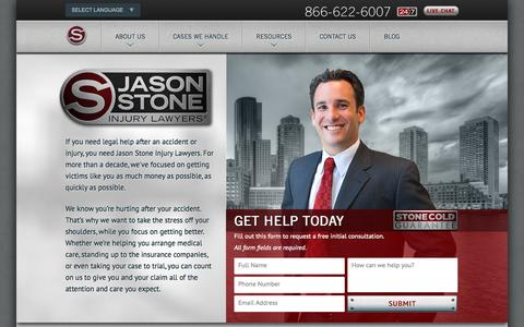 Screenshot of Home Page stoneinjurylawyers.com - Boston Personal Injury Attorneys - Jason Stone Injury Lawyers - captured Oct. 6, 2014