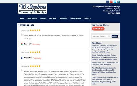 Screenshot of Testimonials Page wstephens.com - Testimonials - captured Oct. 20, 2018