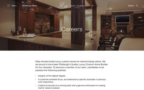 Screenshot of Jobs Page eddyhomes.com - Careers - Eddy Homes - captured Dec. 14, 2018