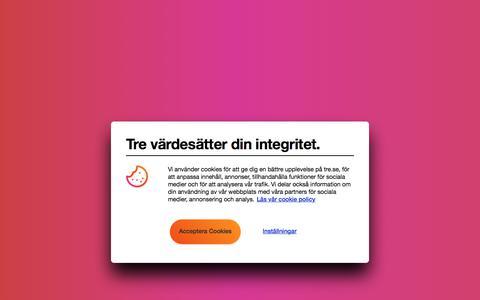 Screenshot of Support Page tre.se captured Jan. 17, 2020