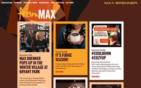 Screenshot of Blog maxbrenner.com - Max Brenner Blog - captured Jan. 28, 2016