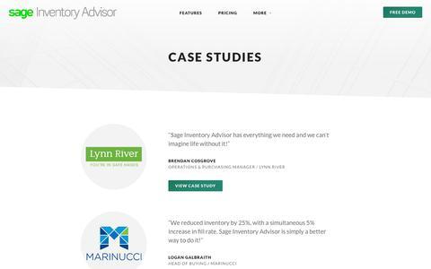 Screenshot of Case Studies Page inventoryadvisor.co - Case Studies   Improved Inventory performance   Inventory Advisor - captured July 10, 2018