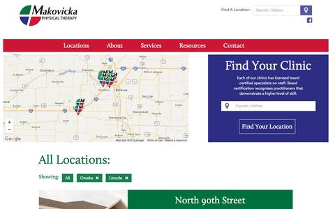 Screenshot of Locations Page makovickapt.com - Locations - Makovicka Physical Therapy - captured Oct. 1, 2016
