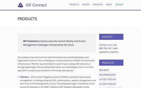 Screenshot of Products Page idfconnect.com - Products | Identity Access Management | SiteMinder - captured Sept. 30, 2018