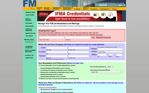 Screenshot of Signup Page fmlink.com - Facilities Management Newsletter - captured Sept. 25, 2014